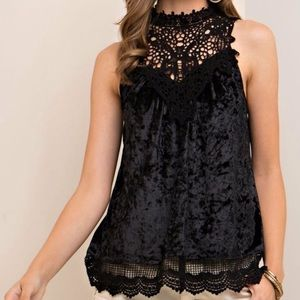 [Entro] Black Velvet Lace Embroidered Tank Top